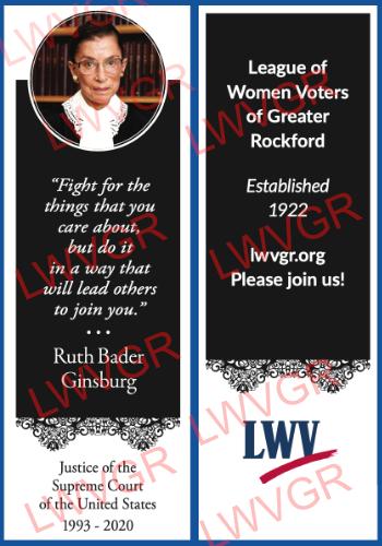 LWVGR Justice Ruth Bader Ginsburg Memorial Bookmark