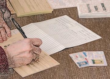 Elsie Janson registers voters.